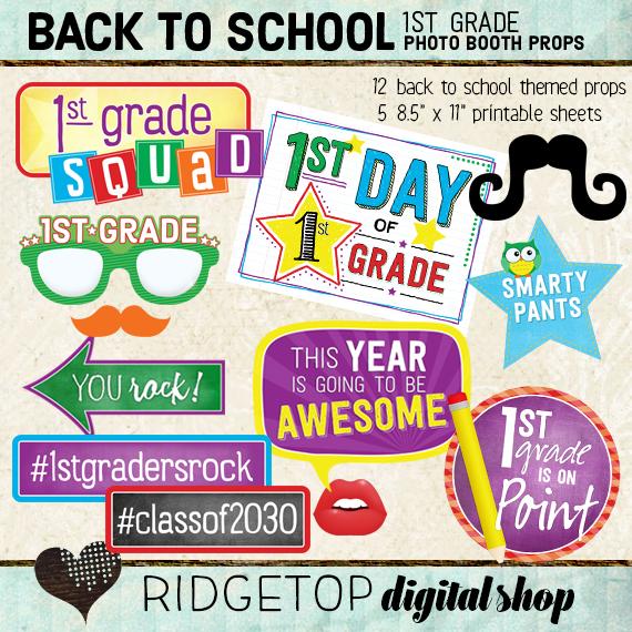 Ridgetop Digital Shop | Back to School - 1st Grade Photo Props
