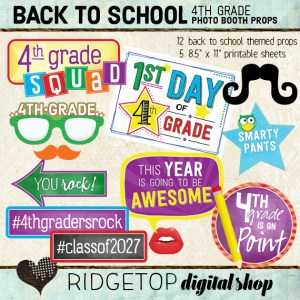Ridgetop Digital Shop | Back to School - 4th Grade Photo Props