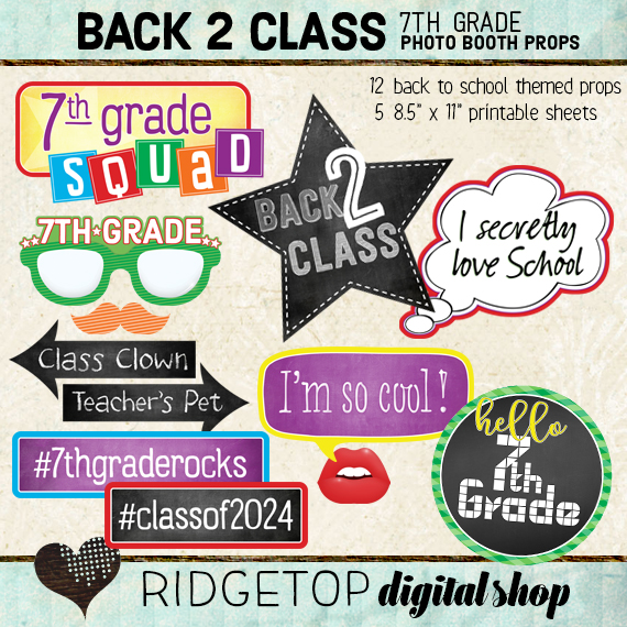 Ridgetop Digital Shop | Back to School - 7th Grade Photo Props