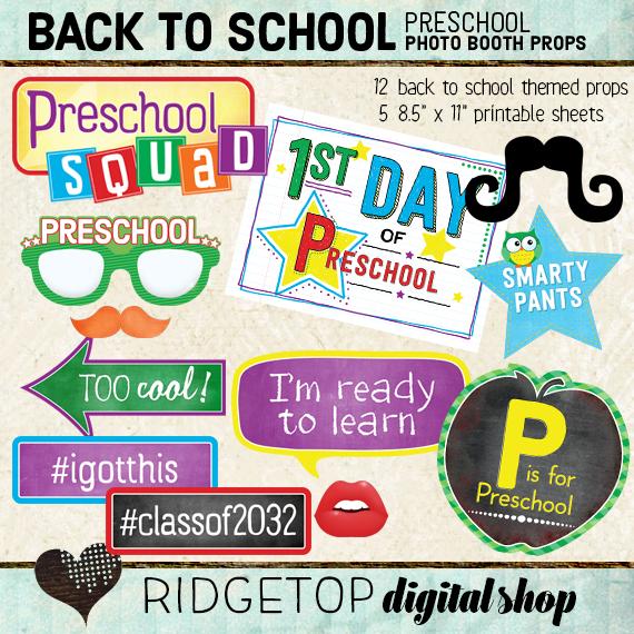 Ridgetop Digital Shop | Back to School - Preschool Photo Props