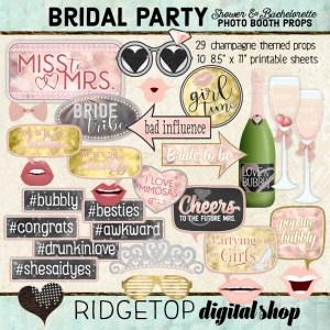 Ridgetop Digital Shop | Bachelorette Party - Champagne Photo Props | Bridal Shower Photo Booth | Hen Party