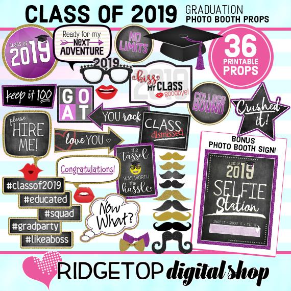Ridgetop Digital Shop | Class of 2019 Photo Props - Purple, Gold | Graduation Photo Booth