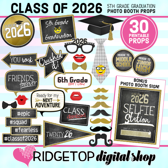 Ridgetop Digital Shop | 5th Grade Graduation Photo Booth Props