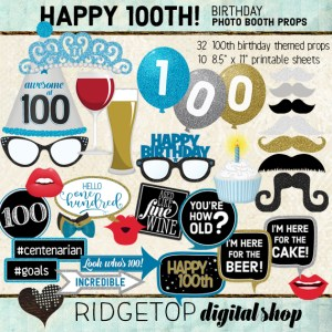 Ridgetop Digital Shop | 100th Birthday Party | Blue Photo Props