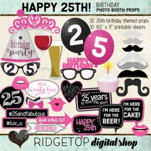 Ridgetop Digital Shop | Hot PInk Photo Booth Props | 25th Birthday Party