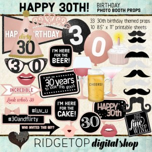 Ridgetop Digital Shop | Rose Gold Birthday Party | Photo Booth Props