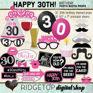Ridgetop Digital Shop | 30th Birthday Photo Booth Props | Hot Pink Party
