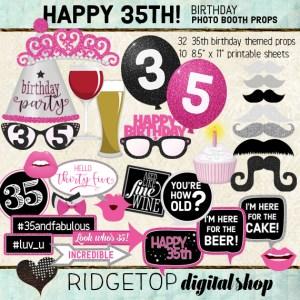Ridgetop Digital Shop | 35th Birthday Photo Booth Props | Hot Pink Color Scheme