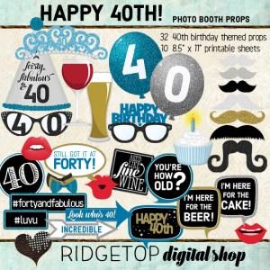 Ridgetop Digital Shop | 40th Birthday Party | Blue Photo Props