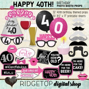 Ridgetop Digital Shop | 40th Birthday Photo Booth Props | Hot PInk Party