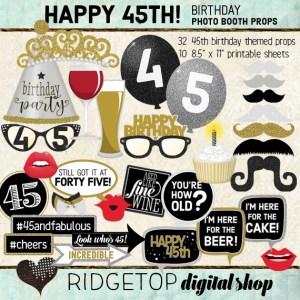 Ridgetop Digital Shop | 45th Birthday Party Photo Booth Props