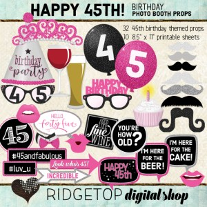 Ridgetop Digital Shop | 45th Birthday Party | Hot Pink Photo Booth Props