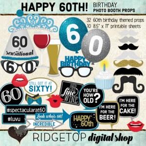 Ridgetop Digital Shop | 60th Birthday Party | Blue Photo Props