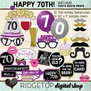 Ridgetop Digital Shop | Purple Birthday Party | Photo Booth Props