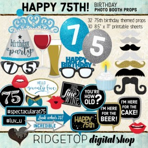 Ridgetop Digital Shop   75th Birthday Party   Blue Photo Props