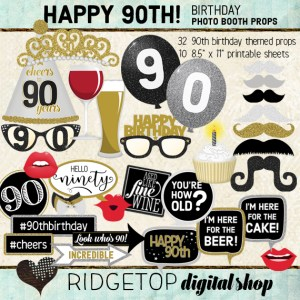 Ridgetop Digital Shop | 90th Birthday Party Photo Booth Props