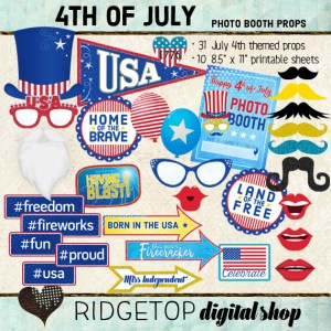 Ridgetop Digital Shop | July 4th Photo Props | 4th of July Photo Booth