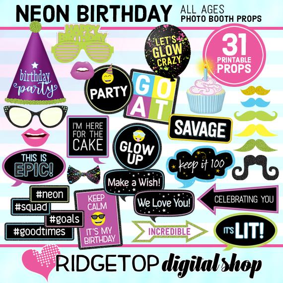 Neon Birthday Photo Props