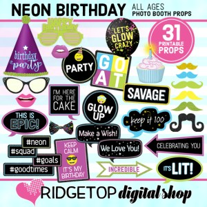 Neon Birthday Photo Props