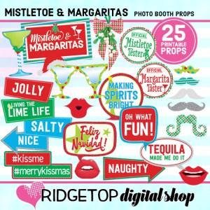 Ridgetop Digital Shop | Mistletoe and Margaritas Photo Props | Christmas Photo Booth