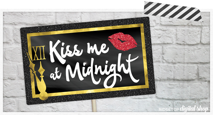 Ridgetop Digital Shop   Kiss Me at Midnight Photo Props   New Year's Eve Photo Booth   New Year's Eve Party
