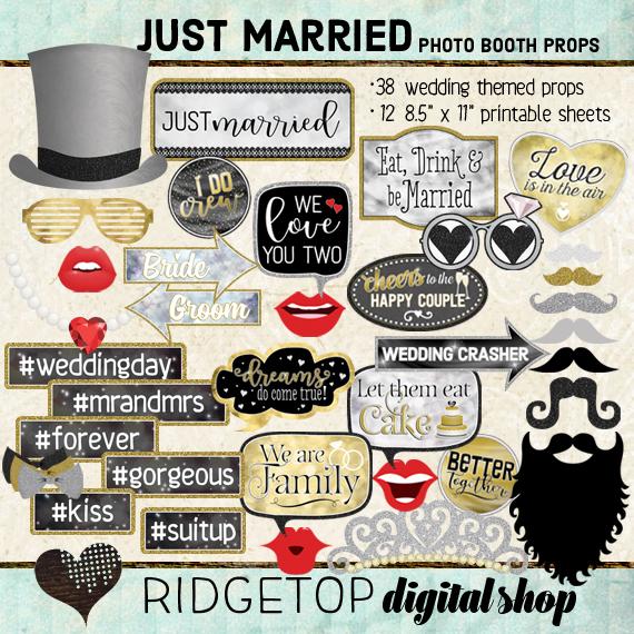 Ridgetop Digital Shop | Just Married Photo Props | Wedding Photo Booth