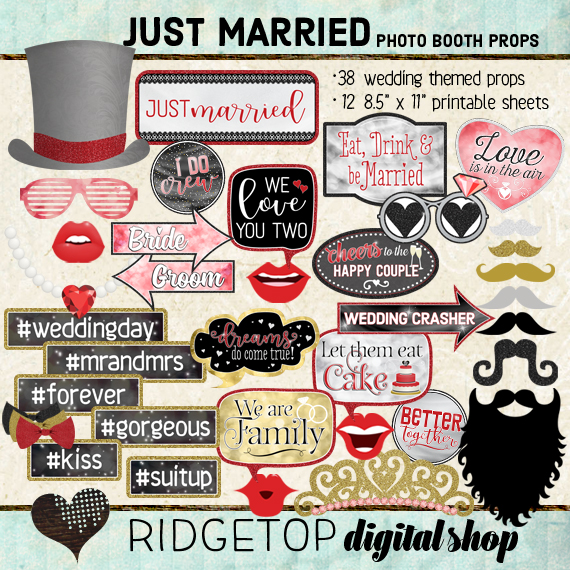 Ridgetop Digital Shop | Just Married - Red Photo Props | Wedding Photo Booth