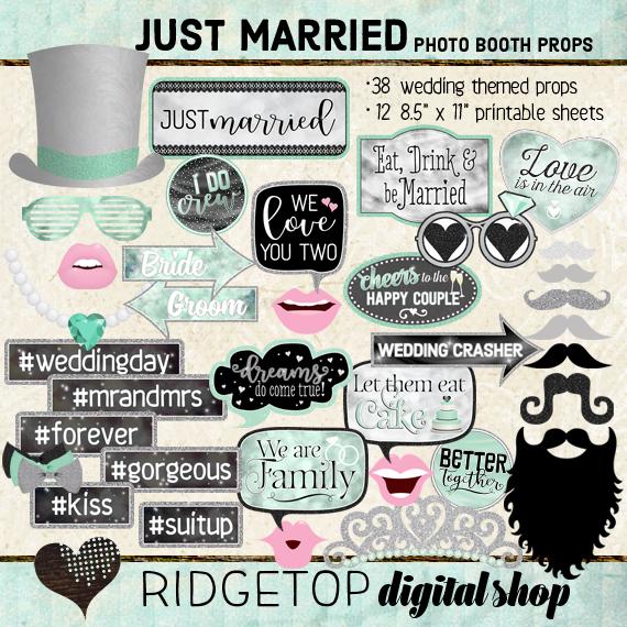 Ridgetop Digital Shop   Just Married - Mint Photo Props   Wedding Photo Booth
