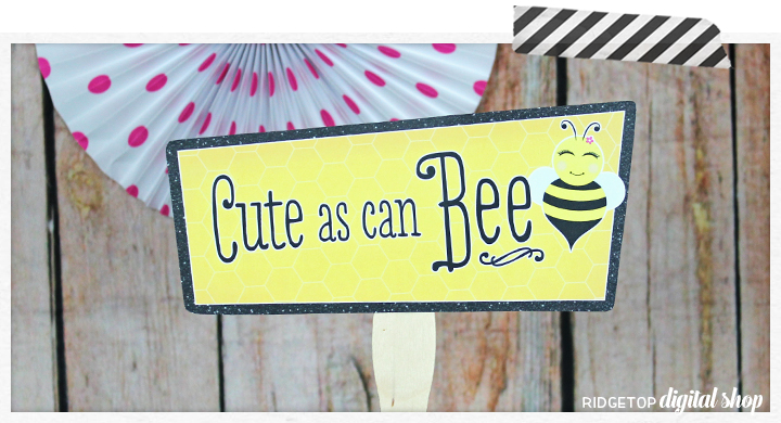 Bee theme party decor free printables   photo booth props   Ridgetop Digital Shop