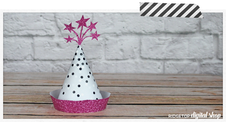 Ridgetop Digital Shop | Friday Freebie | Pink and Silver Party Hat Free Printable