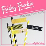 Bee Straw Flags Free Printable