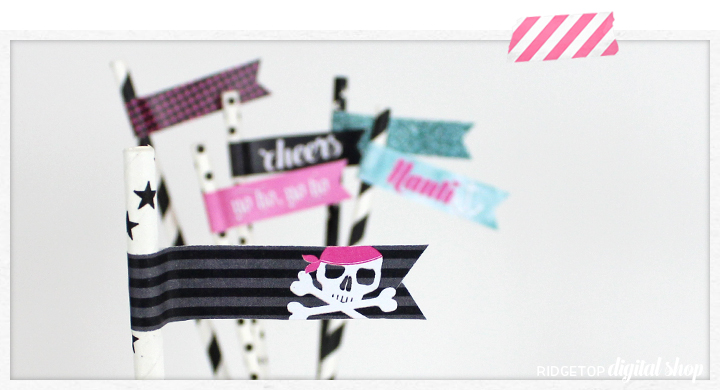 Ridgetop Digital Shop | Snapshot Free Printable | Lady Pirate Straw Flags | Nauti Bachelorette Party