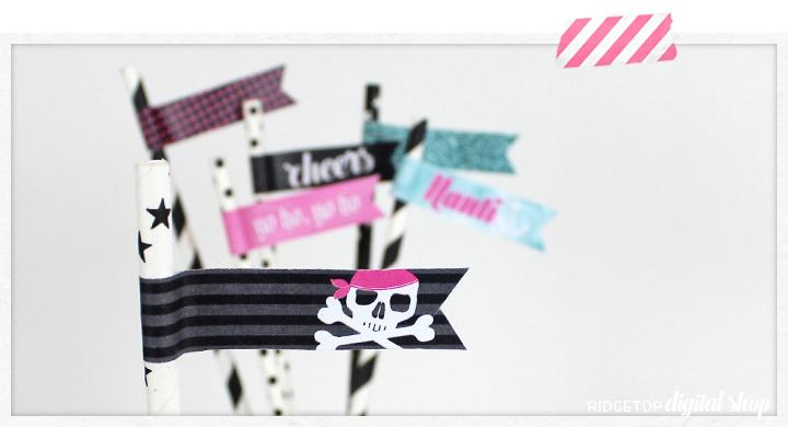 Pirate Straw Flags Free Printable   Nautical Bachelorette   Nauti Bachelorette   Pirate Party   Girl Pirate   Tropical Girl's Night   Yo Ho   Ridgetop Digital Shop