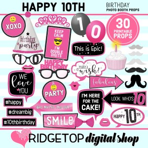 Ridgetop Digital Shop 10th Birthday Printable Pink party photo booth props