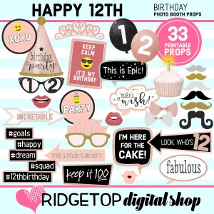 12th birthday rose gold photo booth props printable download