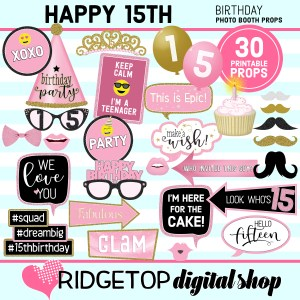 Ridgetop Digital Shop 15th Birthday Printable Photo Booth Props