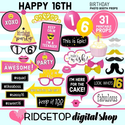 RDS 16th birthday party printable photo booth props