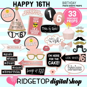 16th birthday rose gold photo booth props printable download