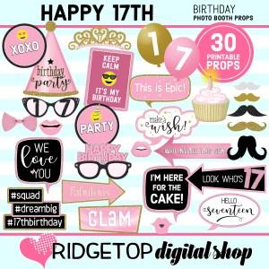 Ridgetop Digital Shop 17th Birthday Printable Photo Booth Props