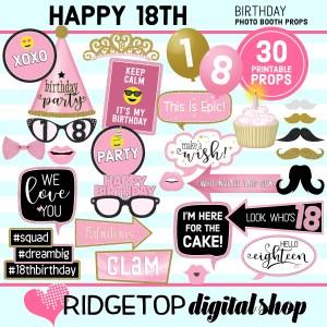 Ridgetop Digital Shop 18th Birthday Printable Photo Booth Props