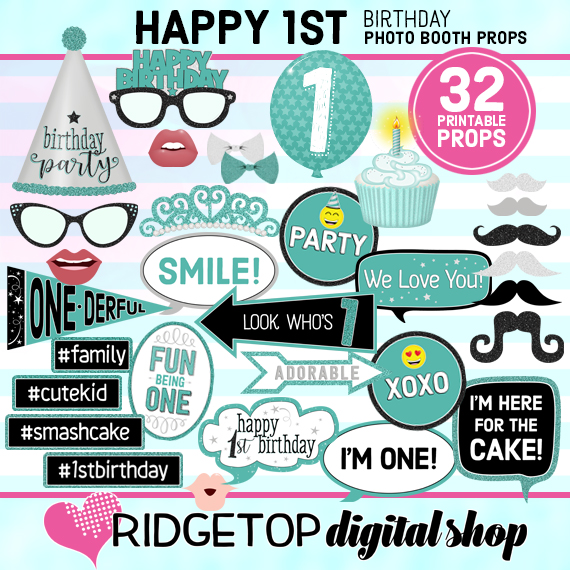 Ridgetop Digital Shop | 1st Birthday Turquoise Photo Booth Props