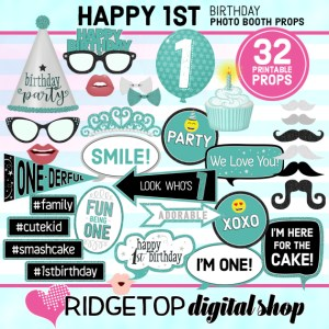 Ridgetop Digital Shop | 1st Birthday Turquoise Photo Booth Props