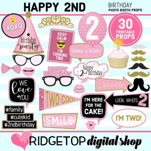 Ridgetop Digital Shop 2nd Birthday Printable Photo Booth Props