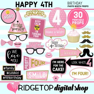 Ridgetop Digital Shop 4th Birthday Printable Photo Booth Props