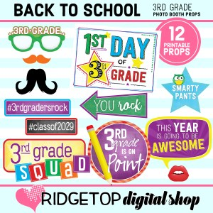 Ridgetop Digital Shop Back to School 3rd Grade Printable Photo Booth Props
