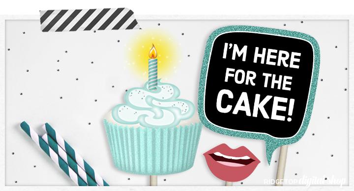 Ridgetop Digital Shop | Birthday Photo Booth Props | Turquoise Birthday Party Printable