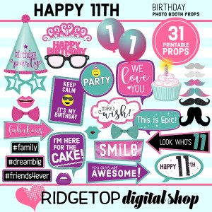 Ridgetop Digital Shop 11th birthday printable photo booth props