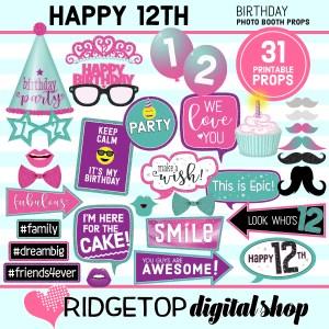 Ridgetop Digital Shop 12th birthday printable photo booth props