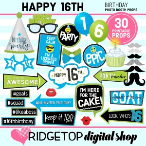 Ridgetop Digital Shop | 16th birthday printable photo booth props