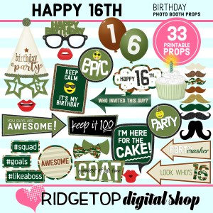 Ridgetop Digital Shop | 16th birthday party printable camo photo booth props